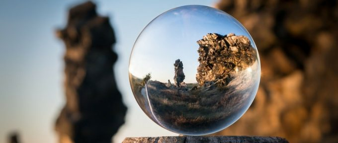 hike views in small glass sphere