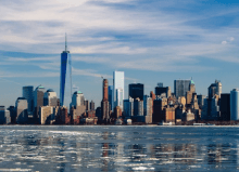 new york skyline from the icy ocean