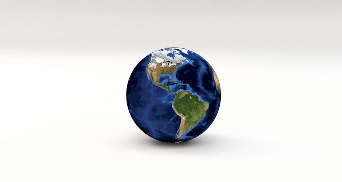 blue and green globe of the world