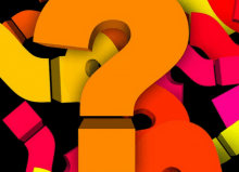 colourful question marks on black background