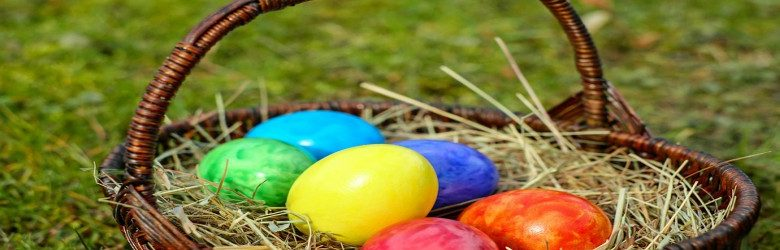 colourful easter eggs in basket
