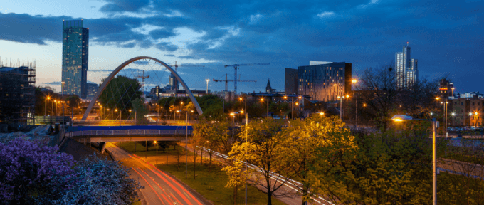 skyline of Manchester in the evening