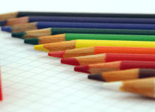 colourful pencils with colourful sharpeners