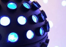 blue disco ball with circle spot lights