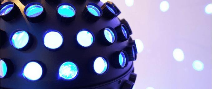 blue disco ball with circle spot lights