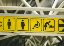 black and yellow public toilets sign