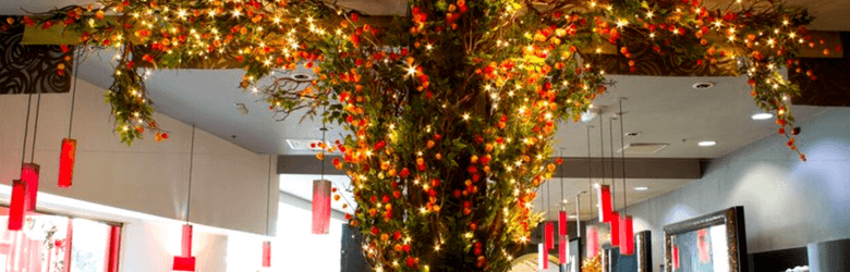 interior of yang sing cathay lights on branches of tree to the ceiling