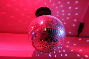 disco ball sensory redbank house with pink lighting