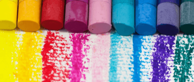 colourful rainbow lines with chalk