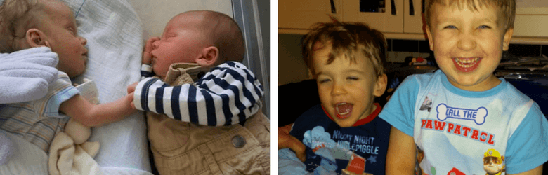 photo of baby brothers and now as they're older