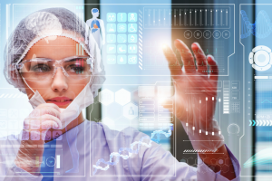 woman in futuristic lab