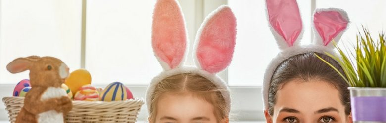 mother and daughter wearing easter bunny ears