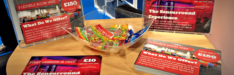 redbank house stand at kidz to adultz north with sweets and postcards
