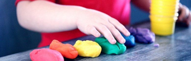 sensory play with claydough shapes
