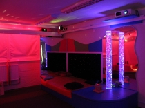 sensory room with bubble tubes