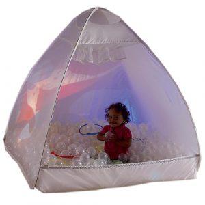 child inside sensory ball house