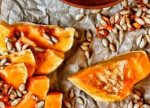 pumpkin seeds and wooden spoon